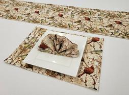 Birds & Berries Placemat Table Runner Cloth Napkins Set