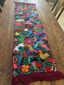birds animals mexican embroidered table runner chiapas