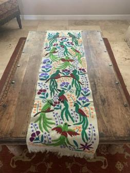 Birds Mexican Embroidered Table Runner Chiapas 60x16 Cream C