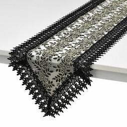 Black 100% Polyester Doily Boutique Embroidered Table Runner
