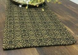 "BLACK & DEEP MUSTARD WOVEN TABLE RUNNER PEBBLE BROOK 32"" x 1"