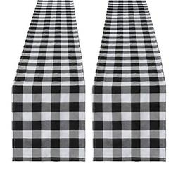 SoarDream Black and White Plaid Cotton Runner 2 Piece 13 x 1