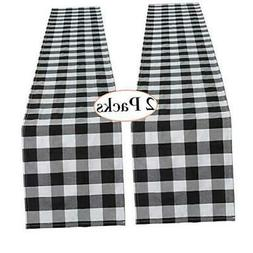 Black and White Plaid Cotton Runner 2 Piece 13 x 108 Inch Bu