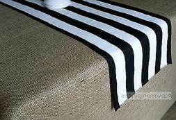 Black and White Stripe Table Runner Kitchen Home Decor Linen