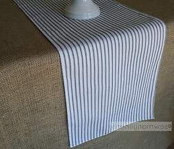 Black and White Ticking Stripe Table Runner Farmhouse Vintag