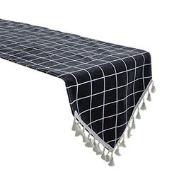 Uphome Black Gingham Table Runner, Plaid Pattern with Boho F