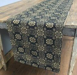"BLACK TAN WOVEN TABLE RUNNER 32"" x 14"" GETTYSBURG Primitive"