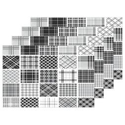 "ALAZA Black & White Plaid Placemats Plate Holder 12""x18"", He"