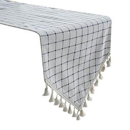 Uphome Blue Gingham Table Runner, Plaid Pattern with Boho Fr