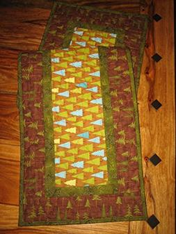 Blue Green Pine Trees Quilted Table Runner, Reversible, 13x4