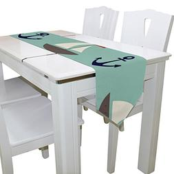 imobaby Blue Marine Anchors Nautical Long Table Runner Place