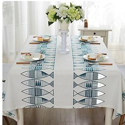Blue/Red small fish fashion simple rectangle tablecloth rect