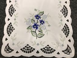 Blue Rose Embroidered Lace Tablecloth Placemat Table Runner