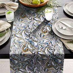 """Blue weave Table Runner 14"""" X 108"""" Print  great for table se"""