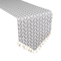 Uphome Bohemia Tassel and Modern Grey Chevron Pattern Table