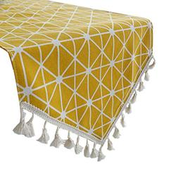 Uphome Bohemia Tassel and Yellow Geometric Pattern Table Run