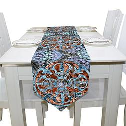 Aideess Bohemian Mandala Flower Polyester Table Runner Place