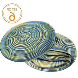 Braided Colorful Round Place mats for Kitchen Dining Table R