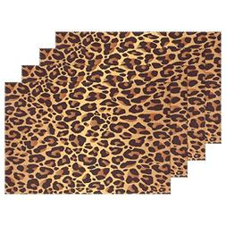WOZO Bright Leopard Print Placemat Table Mat, Animal Fur 12""