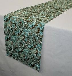 brown and teal paisley table runner