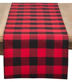 SARO LIFESTYLE Buffalo Plaid Check Cotton Blend Table Runner