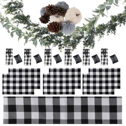 Buffalo Plaid Table Runner, Placemats, Cloth Napkins, Rings,