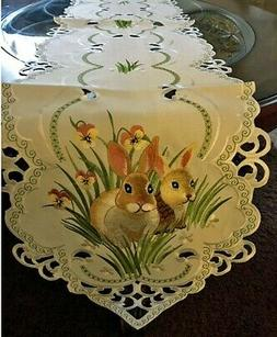 "Bunny Floral Spring & Easter Table Runner  67""x13"" Embroider"