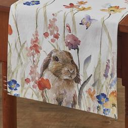 Bunny Rabbit Table Runner Enchantment Watercolor Floral Spri