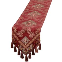 Grelucgo Burgundy Damask Floral Table Runners and Dresser Sc