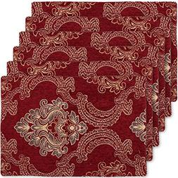 Burgundy Damask Table Placemats  Set of 6