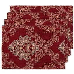 Burgundy Damask Table Placemats Set of 4