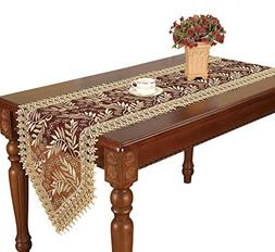 Simhomsen Burgundy Lace Table Runner And Dresser Scarves Emb