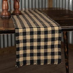 "BURLAP BLACK CHECK 36"" Table Runner Primitive Khaki Rustic P"