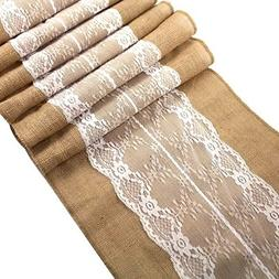 burlap lace hessian table runner