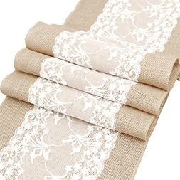 "Newdanceus 12X108"" Burlap Lace Hessian Table Runner Rustic N"
