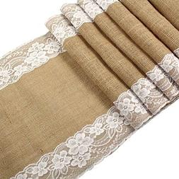 CCTRO Burlap Lace Hessian Table Runner, Rustic Natural Jute