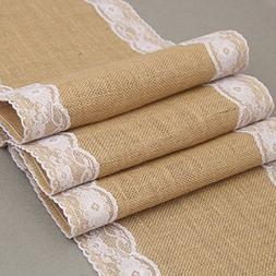 Yoovi Burlap and Lace Table Runner for Wedding and Party, 12