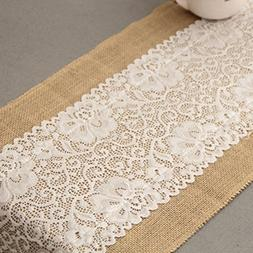 12x72 Inch Burlap and Lace Table Runner Fall Decorations Cou