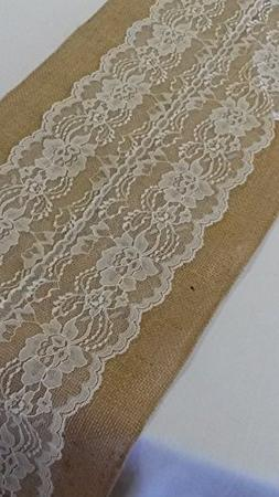 """AK TRADING Burlap & Lace Table Runner, 12"""" W X 72"""" L, Ivory"""