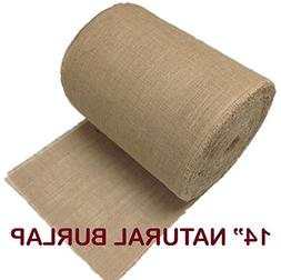 "AK Trading 14"" Natural Burlap Roll Fringed & Sewn Edges"