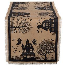 "DII 14x74"" Jute/Burlap Table Runner, Haunted House - Perfect"