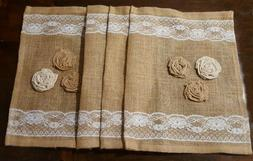 Burlap Table Runner 36x14 Inch Lace Trim and Rose Accents
