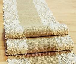 Natural Burlap Table Runner with Lace Wedding Decor Rustic S