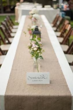 "AK TRADING 12"" x 108"" Natural Burlap Table Runner. Made with"