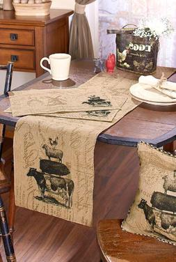 Burlap Table Runner or Placemat Set Farmhouse Country Dining