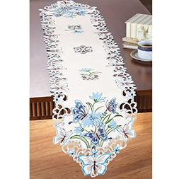 Collections Etc Butterfly And Floral Table Linens, Runner
