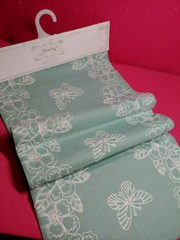 BUTTERFLY TABLE RUNNER BY SPLENDID HOME AQUA LINEN 16 x 72 N