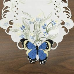Butterfly Wildflower Embroidered Table Runner