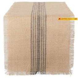 camz38416 mineral middle stripe burlap table runner