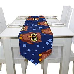 Aideess Cartoon Owl Polyester Table Runner Placemat 13 x 70